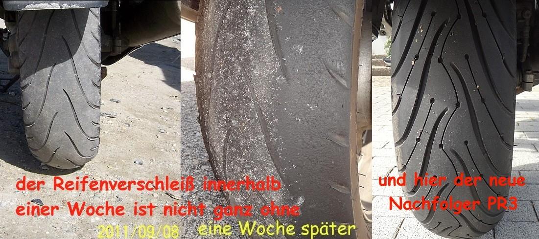 der Asphalt dort setzt dem Reifen ganz schoen zu