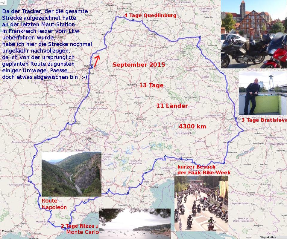 Streckenverlauf der 11-Laender Tour